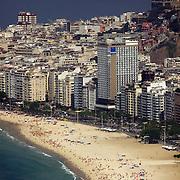 Copacabana Beach, Rio de Janeiro's most famous beach viewed from Sugar Load Mountain, Rio de Janeiro,  Brazil. 27th August 2010. Photo Tim Clayton
