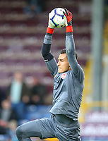 Olympiakos' Andreas Gianniotis is put through his paces in the warm up<br /> <br /> Photographer Alex Dodd/CameraSport<br /> <br /> UEFA Europa League - UEFA Europa League Qualifying Second Leg 2 - Burnley v Olympiakos - Thursday August 30th 2018 - Turf Moor - Burnley<br />  <br /> World Copyright © 2018 CameraSport. All rights reserved. 43 Linden Ave. Countesthorpe. Leicester. England. LE8 5PG - Tel: +44 (0) 116 277 4147 - admin@camerasport.com - www.camerasport.com