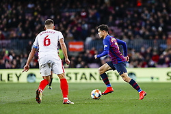 January 30, 2019 - Barcelona, Spain - FC Barcelona midfielder Philippe Coutinho (7) and Sevilla FC defender Daniel Carrico (6) during the match FC Barcelona v Sevilla CF, for the round of 8, second leg of the Copa del Rey played at Camp Nou  on 30th January 2019 in Barcelona, Spain. (Credit Image: © Mikel Trigueros/NurPhoto via ZUMA Press)