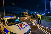 Police Vehicles at the Scene in Broxbourne as Extinction Rebellion environmental activist group maintain the blockade throughout the night using vehicles and bamboo lock-ons to try to prevent the Sun, Times, Telegraph and Mail newspapers from reaching newsstands on Saturday, Sept 5, 2020. The action took place in Broxbourne in Hertfordshire (in the picture) and Knowsley in Liverpool. Extinction Rebellion (XR) said about 80 activists were involved. (VXP Photo/ Vudi Xhymshiti)