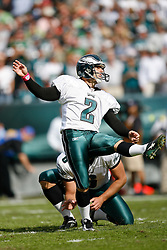 Philadelphia Eagles PK David Akers #2 kicks an extra point during the NFL game between the Tampa Bay Buccaneers and the Philadelphia Eagles on October 11th 2009. The Eagles won 33-14 at Lincoln Financial Field in Philadelphia, Pennsylvania. (Photo By Brian Garfinkel)
