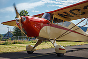Interstate Cadet, taxiing at Wings and Wheels at Oregon Aviation Historical Society.