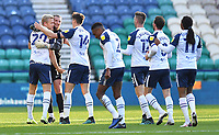 Preston North End's Jayden Stockley is congratulated on scoring his team's first goal<br /> <br /> Photographer Dave Howarth/CameraSport<br /> <br /> The EFL Sky Bet Championship - Preston North End v Birmingham City - Saturday 31st October 2020 - Deepdale - Preston<br /> <br /> World Copyright © 2020 CameraSport. All rights reserved. 43 Linden Ave. Countesthorpe. Leicester. England. LE8 5PG - Tel: +44 (0) 116 277 4147 - admin@camerasport.com - www.camerasport.com