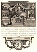 Rene Descartes (1596-1650) French philosopher and mathematician, showing some of the principal events of his life, including the death of his illegitimate daughter, Francine, at the age of 5 (1640), and as teacher to Queen Christina of Sweden (1649-1650). Engraving by Nicolas Ponce 1746-1831) from 'Les Illustres Francais'.