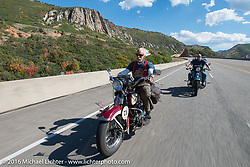 "Dan Kraft on his 1934 Harley-Davidson VL beside his son Robb Kraft on his 1936 Harley-Davidson VLH 80"" during stage 11 (289 miles) of the Motorcycle Cannonball Cross-Country Endurance Run, which on this day ran from Grand Junction, CO to Springville, UT., USA. Tuesday, September 16, 2014.  Photography ©2014 Michael Lichter."