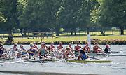 Henley. Berks, United Kingdom. <br /> <br /> Women's Elite Eight, Ohio State University, winning the final at the 2017 Henley' Women's Regatta. Rowing on, Henley Reach. River Thames. <br /> <br /> <br /> Sunday  18/06/2017<br /> <br /> <br /> [Mandatory Credit Peter SPURRIER/Intersport Images]