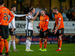 Ayr United's player manager Mark Kerr talks to Dundee United's Sam Stanton after he'd brought him down for their penalty, after his red card. Dundee United 4 v 0 Ayr United, Scottish Championship game played 21/12/2019 at Dundee United's stadium Tannadice Park.