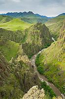 Imnaha River carving its way through Canyon, Hells Canyon Recreation Area Oregon
