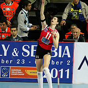 Vakifbank GS TT's Bahar TOKSOY during their Women's Volleyball CEV Champions League semi final match at Burhan Felek Arena in Istanbul, Turkey on 20 March 2011. Photo by TURKPIX
