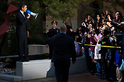 Senator Barack Obama speaks to an overflow crowd of supporters in a courtyard outside St. Peter's College during a presidential primary stop in Jersey City, New Jersey, Wednesday, January 9, 2008.  Hundreds of supporters were turned away at the door when the school's auditorium was filled to capacity.