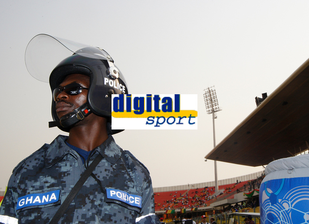 Photo: Steve Bond/Richard Lane Photography.<br />Guinea v Morocco. Africa Cup of Nations. 24/01/2008. The affable Ghana police keep order