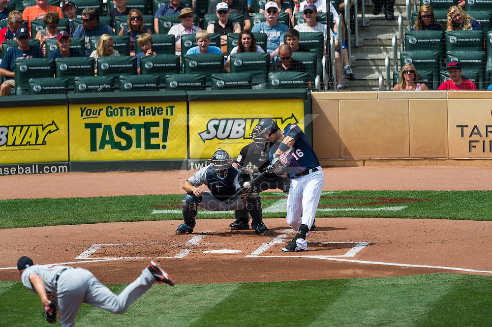 Josh Willingham (16) of the Minnesota Twins bats during a game against the Detroit Tigers on August 15, 2012 at Target Field in Minneapolis, Minnesota.  The Tigers defeated the Twins 5 to 1.  Photo: Ben Krause