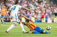 Real Madrid's Carlos Henrique Casemiro and Valencia's Jose Luis Gaya during La Liga match between Real Madrid and Valencia CF at Santiago Bernabeu Stadium in Madrid, Spain August 27, 2017. (ALTERPHOTOS/Borja B.Hojas)