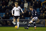 Mark Duffy of Sheffield United (L) takes on Ryan Tunnicliffe of Millwall (R). EFL Skybet championship match, Millwall v Sheffield Utd at The Den in London on Saturday 2nd December 2017.<br /> pic by Steffan Bowen, Andrew Orchard sports photography.