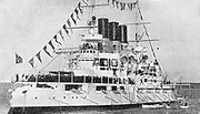 Russo-Japanese War 1904-1905: Russian battleship 'Retvisan', built in Philadelphia, 1900.  Destroyed on the first Japanese attack on Port Arthur, February 1904.