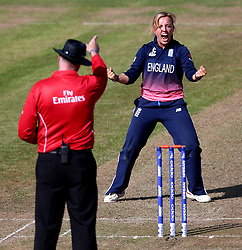Danielle Hazell of England Women celebrates taking the wicket of Marizanne Kapp of South Africa Women - Mandatory by-line: Robbie Stephenson/JMP - 05/07/2017 - CRICKET - County Ground - Bristol, United Kingdom - England Women v South Africa Women - ICC Women's World Cup Group Stage