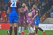 GOAL Matty Gillam is congratulated after equalising 3-3 during the EFL Sky Bet League 1 match between Scunthorpe United and Rochdale at Glanford Park, Scunthorpe, England on 8 September 2018.