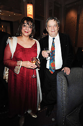LADY NAIPAUL and SIR NORMAN ROSENTHAL at the Liberatum Dinner hosted by Ella Krasner and Pablo Ganguli in honour of Sir V S Naipaul at The Landau at The Langham, Portland Place, London on 23rd November 2010.