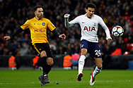 Dele Alli of Tottenham Hotspur (R) takes a shot at goal. The Emirates FA Cup, 4th round replay match, Tottenham Hotspur v Newport County at Wembley Stadium in London on Wednesday 7th February 2018.<br /> pic by Steffan Bowen, Andrew Orchard sports photography.