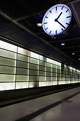 Platform and clock at Potsdamer Platz railway station in Berlin 2009