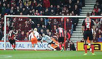 GOAL - Bournemouth's Callum Wilson scores his sides fourth goal from the spot as Blackpool's Elliott Parish dives the wrong way<br /> <br /> Photographer Kevin Barnes/CameraSport<br /> <br /> Football - The Football League Sky Bet Championship - Bournemouth v Blackpool - Saturday 14th March 2015 - Goldsands Stadium - Bournemouth<br /> <br /> © CameraSport - 43 Linden Ave. Countesthorpe. Leicester. England. LE8 5PG - Tel: +44 (0) 116 277 4147 - admin@camerasport.com - www.camerasport.com