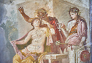 Satyr caressing Hermaphrodite, a Roman erotic fresco painting from Pompeii, 50-79 AD , from the tablium of the Casa di Epidio Sabino, inv no 27875 ,Secret Museum or Secret Cabinet, Naples National Archaeological Museum .<br /> <br /> If you prefer to buy from our ALAMY PHOTO LIBRARY  Collection visit : https://www.alamy.com/portfolio/paul-williams-funkystock - Scroll down and type - Roman Art Erotic  - into LOWER search box. {TIP - Refine search by adding a background colour as well}.<br /> <br /> Visit our ROMAN ART & HISTORIC SITES PHOTO COLLECTIONS for more photos to download or buy as wall art prints https://funkystock.photoshelter.com/gallery-collection/The-Romans-Art-Artefacts-Antiquities-Historic-Sites-Pictures-Images/C0000r2uLJJo9_s0
