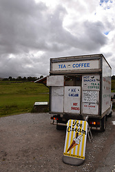 Hot Dog stand near Ribble Viaduct, starting point for popular walk on Whernside, Yorkshire Dales UK Sep 2020