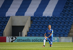 Ben Stevenson of Colchester United takes a knee before kick off - Mandatory by-line: Arron Gent/JMP - 18/06/2020 - FOOTBALL - JobServe Community Stadium - Colchester, England - Colchester United v Exeter City - Sky Bet League Two Play-off 1st Leg