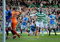 Celtic's Odsonne Edouard celebrates scoring his sides second goal during the Ladbrokes Scottish Premiership match at Celtic Park, Glasgow.