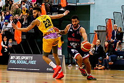 Lewis Champion of Bristol Flyers takes on Jordan Spencer of London Lions - Photo mandatory by-line: Robbie Stephenson/JMP - 10/04/2019 - BASKETBALL - UEL Sports Dock - London, England - London Lions v Bristol Flyers - British Basketball League Championship
