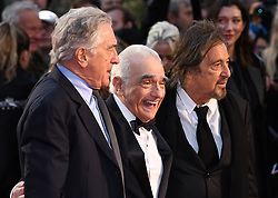 Al Pacino, Martin Scorsese and Robert de Niro attending the Closing Gala and International premiere of The Irishman, held as part of the BFI London Film Festival 2019, London. Photo credit should read: Doug Peters/EMPICS