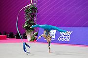 Onopriienko Viktoriia during World Cup of Pesaro in Virtifrigo Arena on May 28/29, 2021. She's an Ukrainian individual rhythmic gymnast born October 18, 2003 in Kyiv.