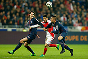 Paris Saint-Germain's French midfielder Adrien Rabiot and Paris Saint-Germain's Italian midfielder Marco Verratti vie with Monaco's Portuguese midfielder Bernardo Silva during the French League Cup, Final football match between AS Monaco and Paris Saint-Germain FC on April 1, 2017 at the Parc Olympique Lyonnais stadium in Decines-Charpieu near Lyon, France - Photo Benjamin Cremel / ProSportsImages / DPPI