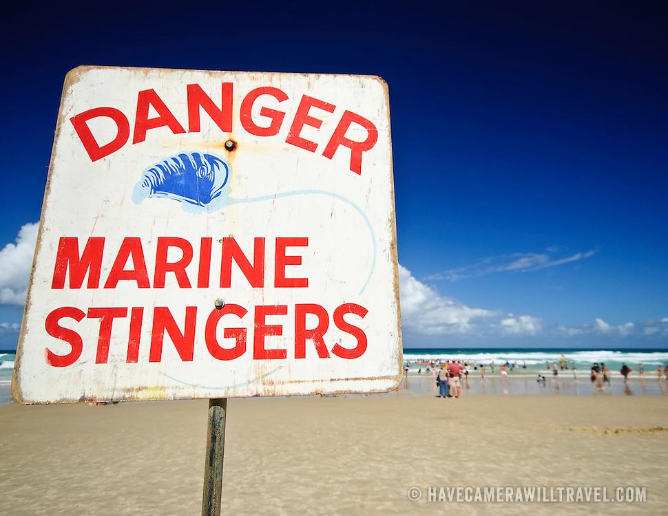 Marine stingers warning at the beach at Surfers' Paradise