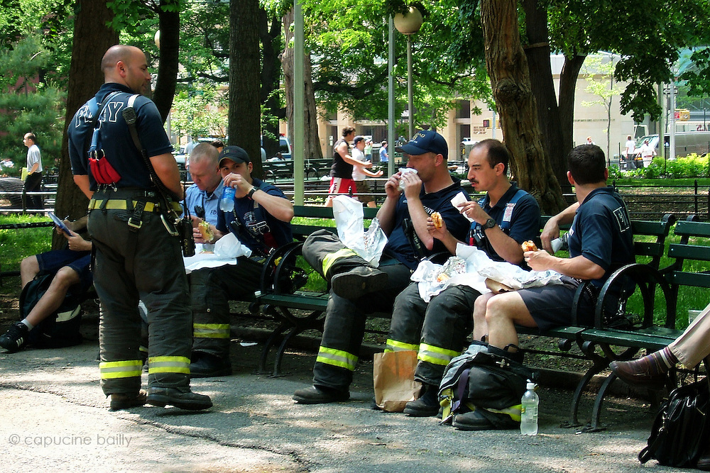 New York, New York. United States. May 11th 2004.Firemen in Washington Square Park