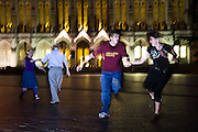 Elizabeth Korsmo (l-r), Jonathan Keith, Brett Nakashima and Shayla Miles, members of the Swing Club, dance in Red Square on the University of Washington campus in Seattle, Washington.