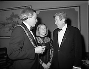 18/01/1981<br /> 01/18/1981<br /> 18 January 1981<br /> Texaco Sportsters awards at the Burlington Hotel, Dublin. Picture shows Lord Mayor of Dublin Alexis FitzGerald Jnr and his wife Mary Flaherty TD speaking with An Taoiseach Dr Garret Fitzgerald TD at the awards.