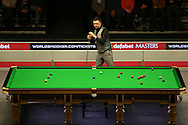Kyren Wilson (Eng) in action. Ding Junhui (Chn) v Kyren Wilson (Eng),  1st round match at the Dafabet Masters Snooker 2017, day 1 at Alexandra Palace in London on Sunday 15th January 2017.<br /> pic by John Patrick Fletcher, Andrew Orchard sports photography.