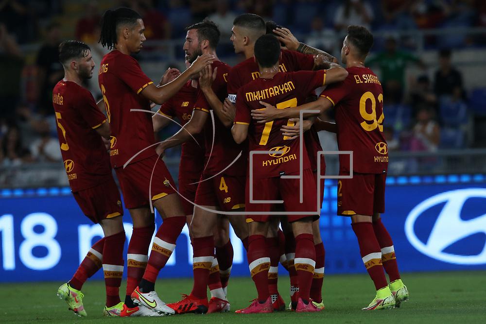 Roma 14/08/2021 Stadio Olimpico<br /> Amichevole <br /> AS Roma vs Raja Club Athletic<br /> l'esultanza della Roma per il goal di  Eldor Shomurodov (Roma)