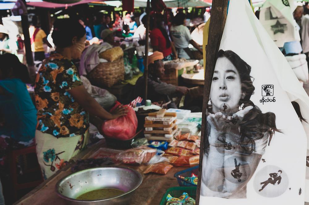 Kalaw, Myanmar - November 1, 2011: Scene in the market in Kalaw, located in Myanmar's Shan State
