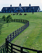 Pasture and stables of Brookside Farms with thoroughbreds, US 60 northwest of Versailles, Woodford County, Kentucky.