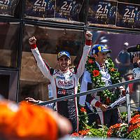 The winners: Buemi, Nakajima, Toyota Gazoo Racing on 17/06/2018 at the 24H of Le Mans, 2018