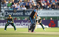 HD Rutherford of Derbyshire Falcons (C) is caught out off the bowling of AD Russell of Notts Outlaws (Not Pictured) - Mandatory by-line: Jack Phillips/JMP - 24/06/2016 - CRICKET - The 3aaa County Ground - Derby, United Kingdom - Derbyshire Falcons v Notts Outlaws - Natwest T20 Blast