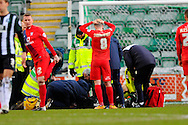 York City's Luke Summerfield has his hands on his head as York City's Russell Penn is treated for a serious injury during the Sky Bet League 2 match between Plymouth Argyle and York City at Home Park, Plymouth, England on 28 March 2016. Photo by Graham Hunt.