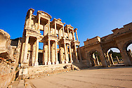 Photo of The library of Celsus. Images of the Roman ruins of Ephasus, Turkey. Stock Picture & Photo art prints 2 .<br /> <br /> If you prefer to buy from our ALAMY PHOTO LIBRARY  Collection visit : https://www.alamy.com/portfolio/paul-williams-funkystock/ephesus-celsus-library-turkey.html<br /> <br /> Visit our TURKEY PHOTO COLLECTIONS for more photos to download or buy as wall art prints https://funkystock.photoshelter.com/gallery-collection/3f-Pictures-of-Turkey-Turkey-Photos-Images-Fotos/C0000U.hJWkZxAbg