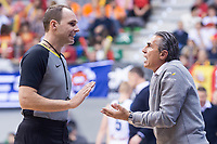 Spain coach Sergio Scariolo talking with referee during FIBA European Qualifiers to World Cup 2019 between Spain and Slovenia at Coliseum Burgos in Madrid, Spain. November 26, 2017. (ALTERPHOTOS/Borja B.Hojas)