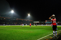 Luton Town's James Bree takes a two in<br /> <br /> Photographer Alex Dodd/CameraSport<br /> <br /> The EFL Sky Bet Championship - 191123 Luton Town v Leeds United - Saturday 23rd November 2019 - Kenilworth Road - Luton<br /> <br /> World Copyright © 2019 CameraSport. All rights reserved. 43 Linden Ave. Countesthorpe. Leicester. England. LE8 5PG - Tel: +44 (0) 116 277 4147 - admin@camerasport.com - www.camerasport.com