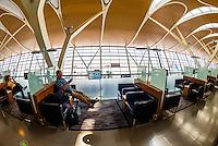 Business class lounge, Shanghai Pudong International Airport, Shanghai, China.