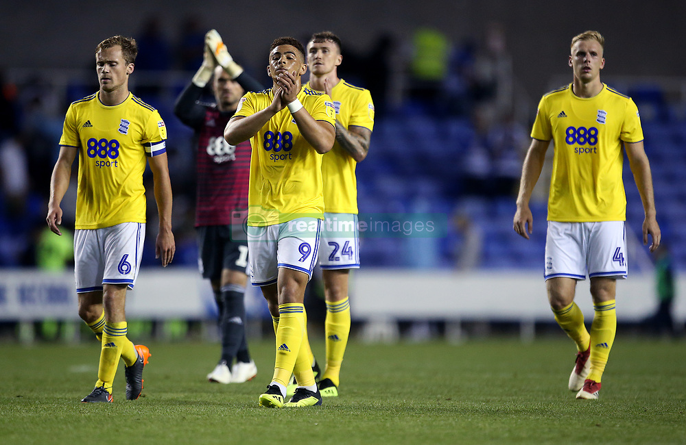 Birmingham City's Che Adams applauds the fans at full time