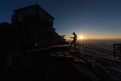 THEMENBILD - Grossglocknergipfel auf 3.798m, die ersten Sonnenstrahlen erleuchten das Eisleitl. Gesehen bei der Erzherzog Johann Hütte (3.454m) auf der sog. Adlersruhe am frühen Morgen des 2. Juli 2013 // THEMES IMAGE - Mountaineers make final preparations before heading out to climb to the summit of the Grossglockner at 3,798 m. Seen at the Erzherzog Johann Hut (3.454m) on the so-called eagle resting in the early morning of 2 July 2013 EXPA Pictures © 2013, PhotoCredit: EXPA/ Johann Groder